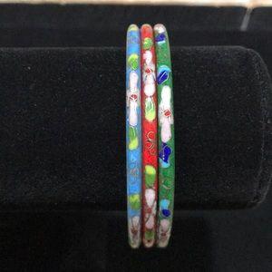 Jewelry - Vintage Cloisonné Bangle Bracelets